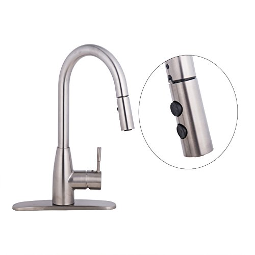CO-Z Brushed Nickel Kitchen Sink Faucets with Pull Down Sprayer, 360° Swivel Single Handle Faucet with Pullout Sprayer, American Standard Water Faucet Fixtures for RV Kitchen Farmhouse Laundry