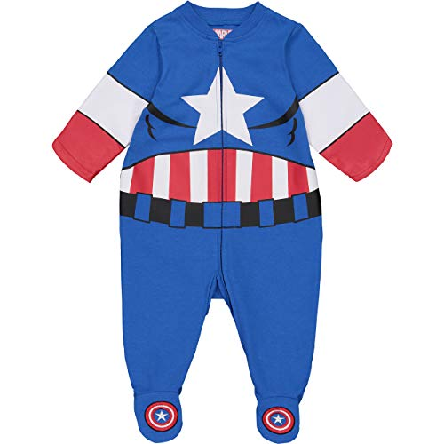 (Marvel Avengers Captain America Baby Boys' Zip-Up Costume Coverall with Footies (0-3)