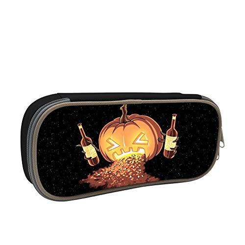 Kids Halloween Pumpkin Ale Large Capacity Soft Pen Bag with Zipper for Boys and Girls Black -