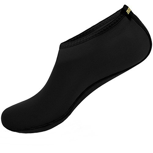SHOESKISS Barefoot Water Skin Shoes Aqua Socks for Beach Swim Surf Yoga Exercise (3. L(W:8-9, M:7-8), Black) (Flat Skin)