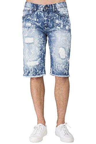 - Level 7 men'slim Premium Denim Cut Off Shorts Bleach Splatter Distressed Raw Edge Size 36
