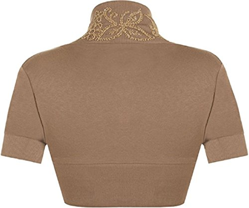 Bolero L Fancy Manches Perl S Womens Moka M Ouvert Fashions Cardigan Shrug Courtes Crop Dames Top Islander tZvqwTR8