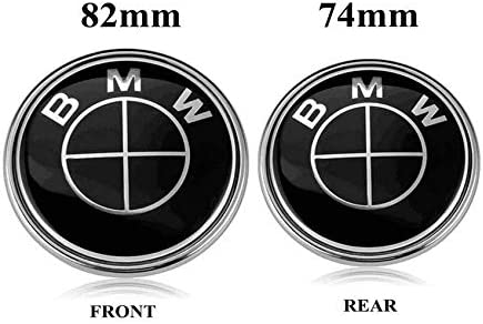 74mm Black BMW Logo Replacement for ALL Models BMW E46 E30 E36 E34 E38 E39 E60 E65 E90 325i 328i X3 X5 X6 1 3 5 6 7 BMW Emblems Hood and Trunk 82mm