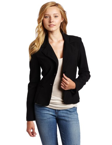 A. Byer Juniors Long Sleeve Button Welt Jacket, Black, Large