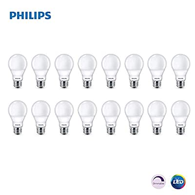 Philips LED Dimmable A19 Soft White Light Bulb with Warm Glow Effect: 800-Lumen, 2700-2200-Kelvin, 9.5-Watt (60-Watt Equivalent), E26 Base (16-Pack)