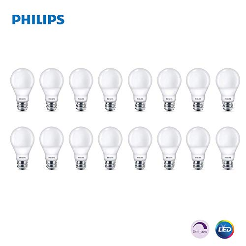 (Philips LED Dimmable A19 Soft White Light Bulb with Warm Glow Effect: 800-Lumen, 2700-2200-Kelvin, 9.5-Watt (60-Watt Equivalent), E26 Base (16-Pack))