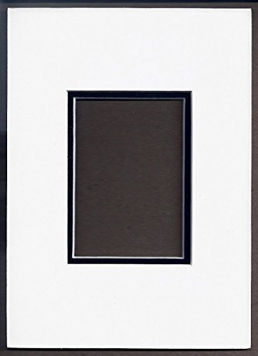 Pack of 10 5x7 White & Black Double Picture Mats with White Core Bevel Cut for 2.5 X 3.5 Aceo or Sport Card