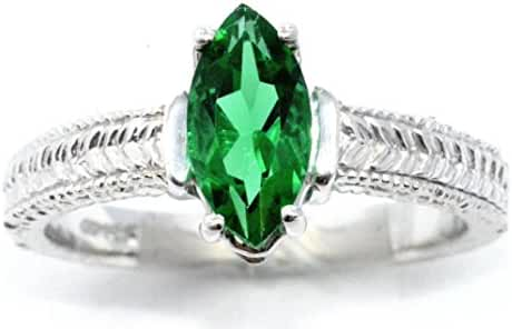 Simulated Emerald Marquise Ring .925 Sterling Silver Rhodium Finish
