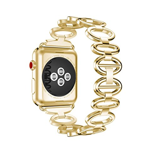 Price comparison product image Boofab Bands for Apple Watch Band 38mm for Women Men,  Bling Metal Replacement Strap for Iwatch Wristband Sport Bracelet for Apple Watch,  Series 3 / 2 / 1 (Gold)