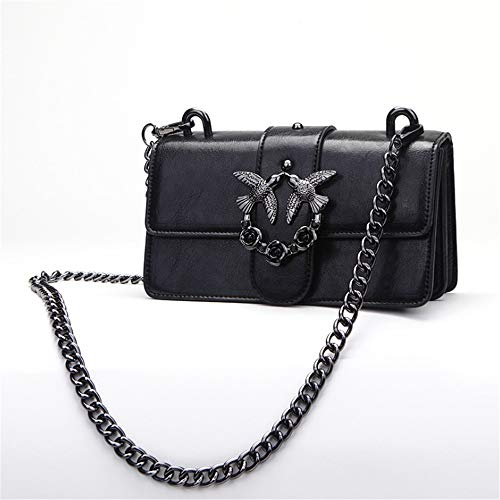 Negro Cadena Cuadrado Inclinado 100 Jtsyhdamas Pequeño Bolso Moda Retro Hombro Veces negro xqwZ1B