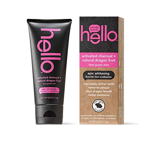 Hello Oral Care Activated Charcoal Teeth Whitening Fluoride Free and SLS Free Toothpaste, Dragon Fruit and Mint Flavor, 4 Ounce