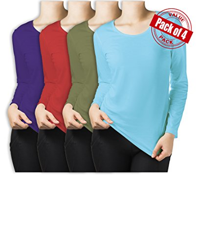 Sexy Basics Women's 4 Pack Athletic Fitted Long Sleeve T Shirt Top Plus Size (1x-Large, 4 Pack - Teal / Turqouise / Olive / Orchid)