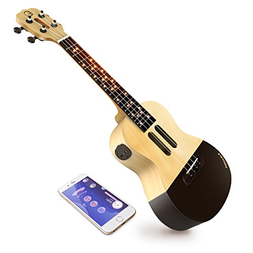 Popuband Populele Smart Ukulele - LED Fretboard, Bluetooth Connection - Free app for iOS and Android, Game Mode for Beginners - Acoustic Concert Size (Populele Only)