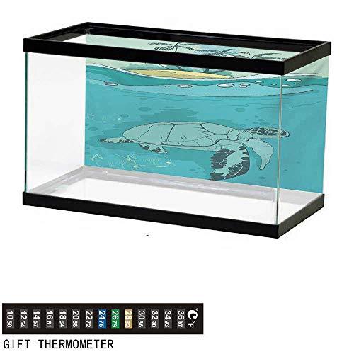 wwwhsl Aquarium Background,Ocean,Turtle Swimming Coral Reef Exotic Island Underwater Life Illustration,Turquoise Teal Green Fish Tank Backdrop 48