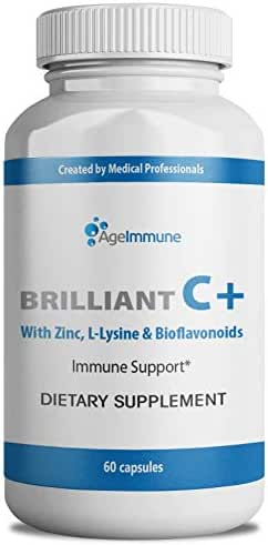 Age Immune Vitamin C 1000mg (as Ascorbic Acid) Complex with L-Lysine, Bioflavonoids, Zinc - Doctor Formulated Immune System Boost and Anti-Viral Support, Supplements. 60 Capsules