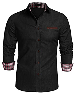 cindere Men's Casual Button Down Shirt, Long Sleeve Cotton Slim Fit Plaid Collar Dress Shirt