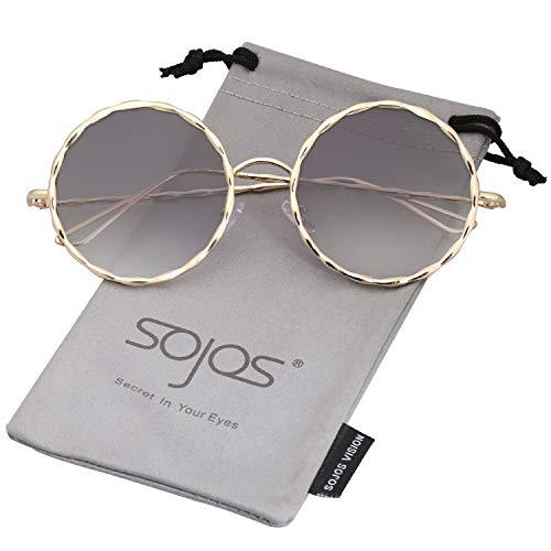 SJ1090 Para Lente De Marco Dorado SOJOS Mujer C1 Sol Gradiente Metal Redondo Marco Trenzado Gris Gafas wRCSz