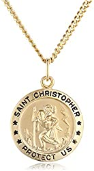 14k Gold-Filled Medium Round Saint Christopher Pendant Necklace with Stainless Steel Chain, 20""
