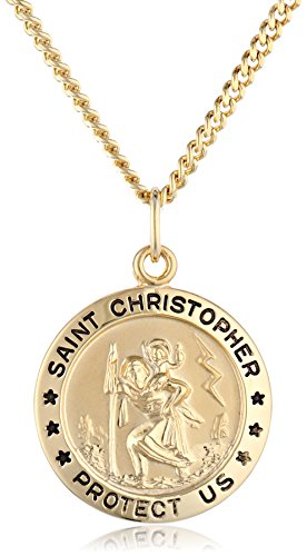 14k Gold-Filled Medium Round Saint Christopher Pendant Necklace with Stainless Steel Chain, 20