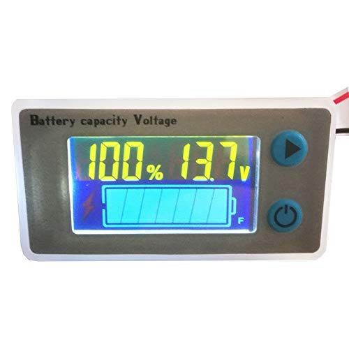 Battery Capacity Fuel Gauge Meter Monitor, HoneyCare Programmable Battery Level Voltage Meter Gauge 12V 24V 36V 48V 60V 72V 84V Lead Acid/3S-22S Cell Lithium Battery Meter (Color LCD Fuel Gauge)