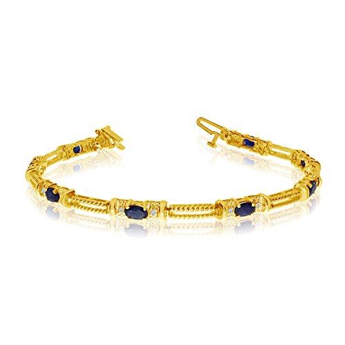 2.00 Carat (ctw) 14k Yellow Gold Oval Sapphire and Diamond Rope Textured Tennis Bracelet - 7