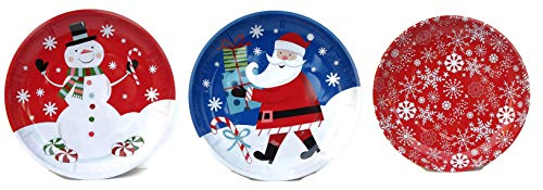 Christmas Cookie Tray Set: Snowman, Santa, and Snowflakes - Pack of 3