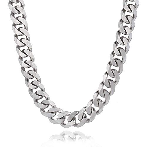 - Trendsmax 14.5mm Heavy Frosted Matte Cut Curb Cuban Link Mens Chain 316L Stainless Steel Necklace 22inch