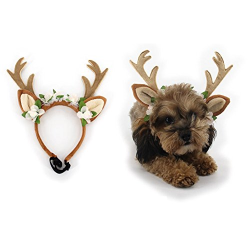 ZTL Pet Antlers Headband with Ears Dog Cat Hair Band Headwear Halloween Christmas Festival Party Costume -