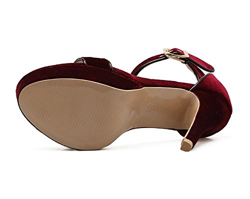 Women's Ladies Sexy Sandals Stiletto High Heel Shoes Peep Toe Ankle Strap Buckle Black Work Party Dress Nightclub WINERED pDIDhx