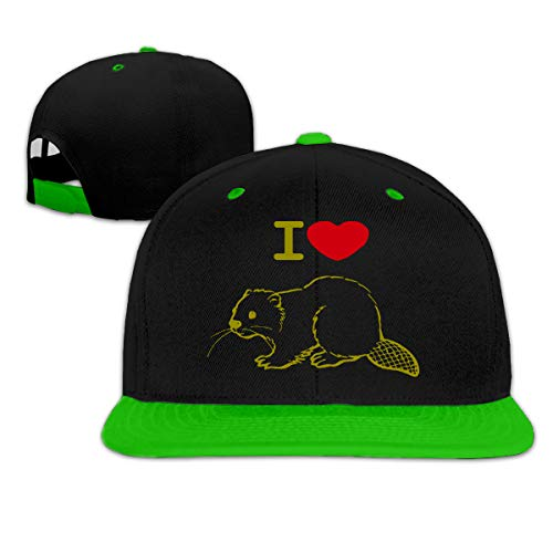 I Love Beaver Adjustable Hip Pop Flat Bill Cap Green