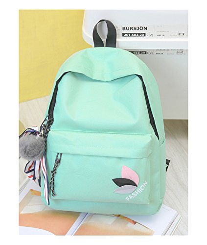 Lidoy Women's Backpack Solid Color Cartoon Pattern Canvas Travel Backpack Color Green - Cartoon Pattern Canvas