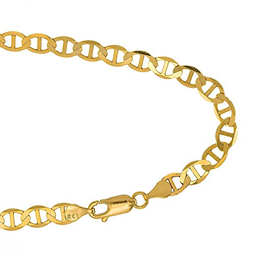 JewelStop 14k Solid Yellow Gold 3.2 mm Mariner Anklet, Lobster Claw Clasp, 2.6 gr - (14k Yellow Gold Mariner Bracelet)