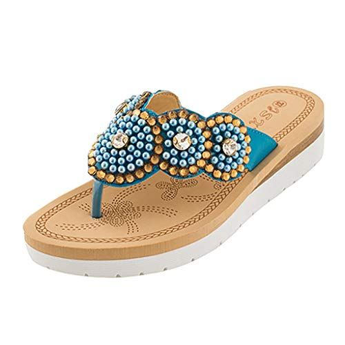 (〓COOlCCI〓Women's Boho Beach Summer Flat Sandals T-Strap Beaded Dress Thong Flip Flops Comfortable Slip On Casual Shoes Blue)