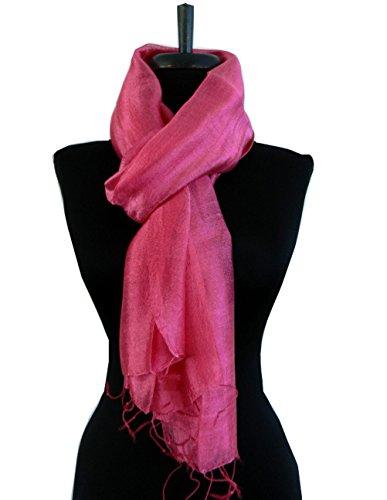 BTPx Women's Handmade 100% Thai Raw Silk Scarf Shawl Solid Fair Trade Large (Rose Pink H42)