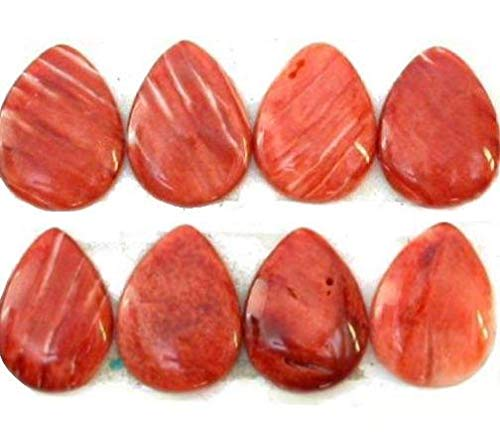 (Red Rust Spiney Oyster Shell Teardrop Gemstone Cabochons for Jewelry Making)