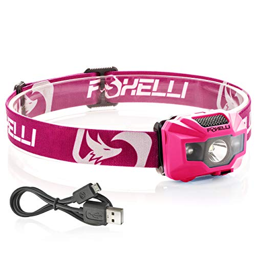 Foxelli USB Rechargeable Headlamp Flashlight - 180 Lumen, up to 40 Hours of Constant Light on a Single Charge, Bright White Led + Red Light, Compact, Easy to Use, Lightweight & Comfortable Headlight ()