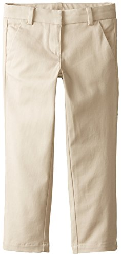 Nautica Little Girls' Uniform Stretch Twill Skinny Bootcut Pant with Waistband, Su Khaki, 5