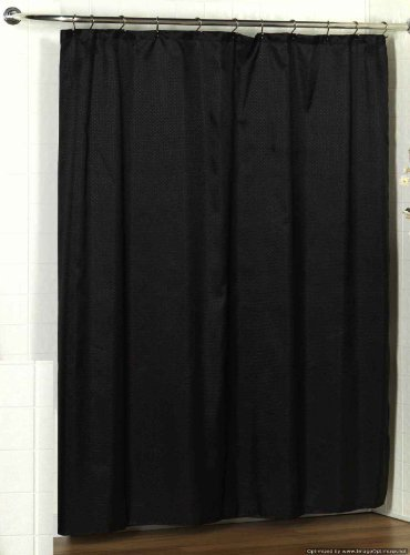 Carnation Home Fashions, Inc Lauren Dobby 70 72-Inch Fabric Shower Curtain, Black