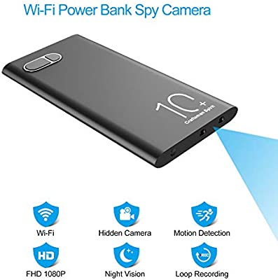 WiFi Spy Cameras 1080P HD 10000mAh Power Bank Hidden Camera with Night...
