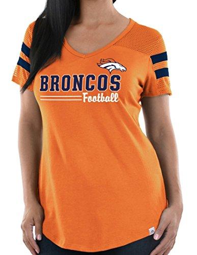 Majestic Denver Broncos Women's NFL Day Game V-Neck Fashion Top Shirt Denver Broncos Womens Top