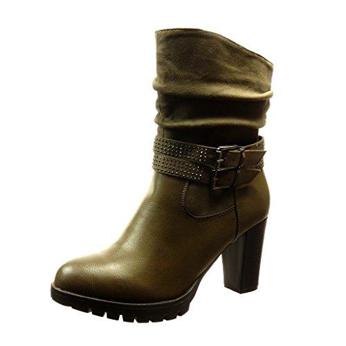 Angkorly - damen Schuhe Stiefeletten - Flexible - Combat Boots - Schleife - Strass - metallisch Blockabsatz high heel 8 CM Khaki