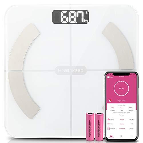 Balance Pese Personne Bluetooth Balance Connectée de Haute Precision Pèse Personne Impedancemetre avec 13 Données Corporelles Masse Graisseuse et Muscle, Verre Trempée,App pour iOS et Android, 180kg