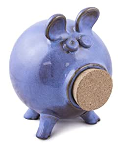 Tumbleweed Pottery Blue Stoneware Piggy Bank