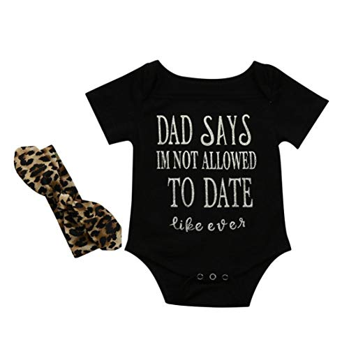 (Jessui Fashion Toddler Baby Clothes, Letter Print Bodysuit with Leopard Headband Layette Infant Wear Spring/Summer 3-6 Months)