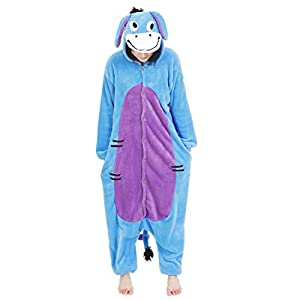 Japsom Womens Plush Warm Donkey Cosplay Animal Onesie Pajamas