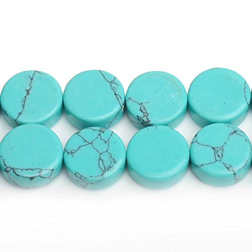 Gemstone Coin Beads Materials for Necklace Bracelet Earrings Jewelry Craft Making Imitation Blue Turquoise Flat Back Button Spacer Beads One Strand 13 Inch Apx 34 - Imitation Turquoise Beads