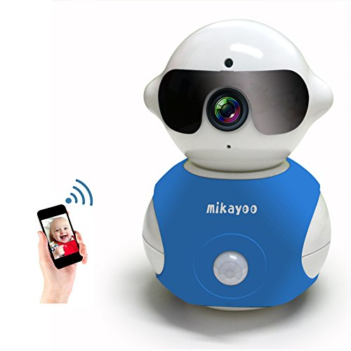 Mikayoo Wireless Camera,Portable Robot Shape 360° Adjustable Wireless IP Camera WiFi Surveillance Security Network Baby Monitor Camera/Carcorder Built in Mic Speaker Infrared Sensor(Blue)
