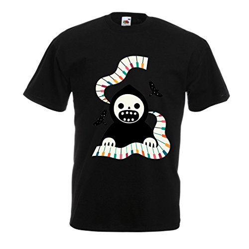 T Shirts for Men Halloween Horror Nights - The Death is Playing on Piano - Cool Scarry Design (Large Black Multi Color) ()