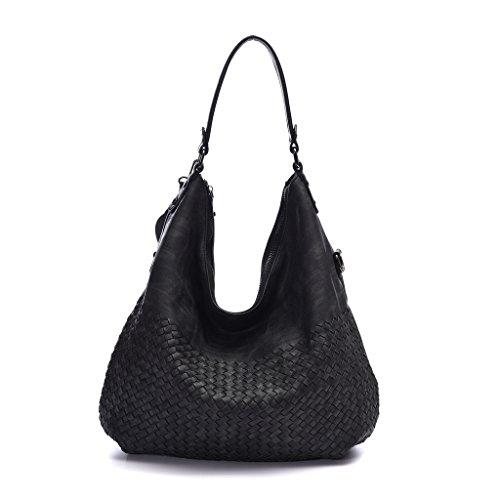 DDDH Braided Women's Classical Hobo Bag Leather Purses Handbags Shoulder Tote Bag Crossbody (Braided Shoulder Tote)