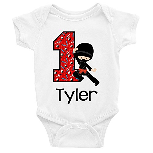 Baby Boys' Ninja 1st Birthday Outfit or Shirt | Personalized with any Name (White, 12 Month Bodysuit) -